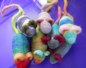 Two Needle Felted Catnip Mice Wool Catnip Toys
