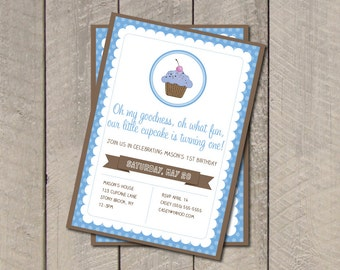 Cupcake Birthday Party Invitation - Blue & Brown Cupcake Invitation - Digital Printable Invite - Boy Birthday Party