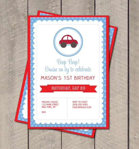 Cars Birthday Party Invitation Cars Invitation Digital – Car Party Invitations