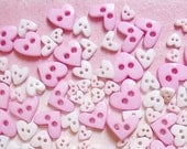 100 pcs. of   Sweet Shabby Tiny  Heart Buttons  in  Assorted  Shapes