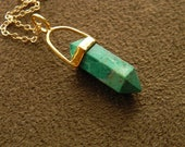 Double Terminated Chrysocolla Petite Point Pendant and Gold Fill Necklace