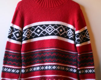 Vintage 1970s Red Ski Lodge sweater size L to XL
