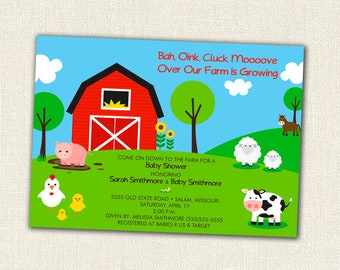 Farm Baby Shower Invitation - Down On The Farm