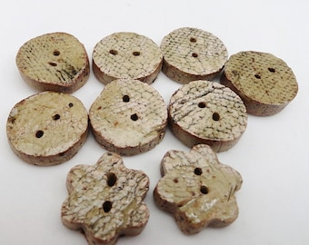 9 Handmade Craggy Irregular Buttons Black Bark Textured Stoneware Chunky Round and Flower Shapes