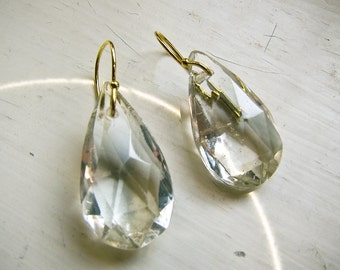 Crystal Dangle Earrings, antique crystal drops