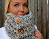 Lamb's Wool Collection - Plush Wool Cowl Scarf In Grey Marble with Handmade Reclaimed Wood Buttons - Adjustable - Unisex