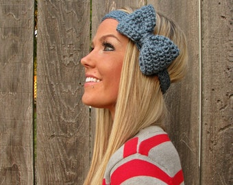 Dusty Blue Crochet Bow Headband w/ Natural Vegan Coconut Shell Buttons Adjustable Hair Band Girl Woman Teen Head Wrap Cute Knit Accessories
