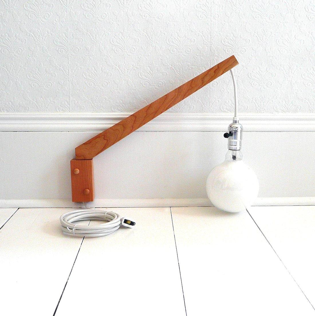 Handmade Wall Light Fixtures : Reserved pair of handmade cherry wood modern wall lights