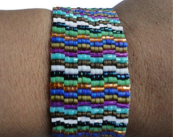 Seed Bead Bracelet, Peyote Stitch, Delica, Stripes, Colorful, Rainbow, Mixed, New York, Fashion Week, 2012, Spring, Pantone, Green, Wide
