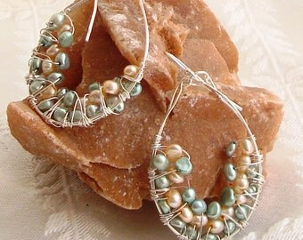 Wire Wrapped Handmade Hoops with Green and Peach Pearls Sterling Silver Earrings