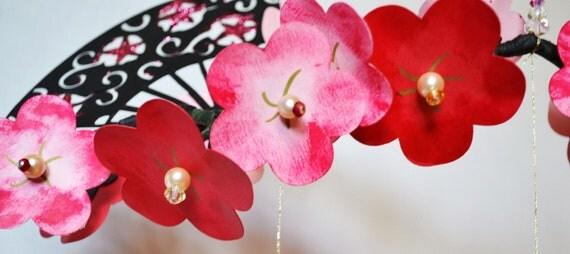 Paper Mobile Cherry Blossom and Fan Origami Crane