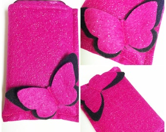 Eco Friendly Felt Gadget Cozy - Pink/black Butterfly