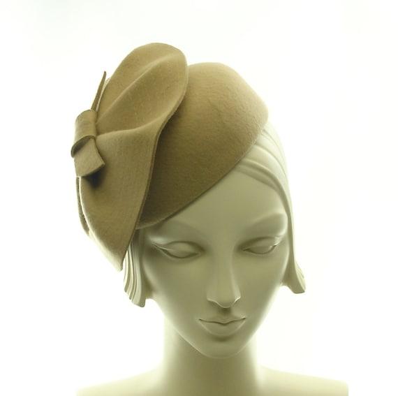 Tan Felt Pillbox Hat for Women - 1930s Style Cocktail Hat -  Felt Tilt Hat - Reserved