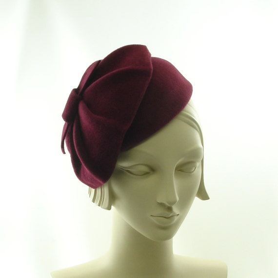 Burgundy Wine Pillbox Hat for Women - 1930s Style Cocktail Hat - Maroon Fancy Hat