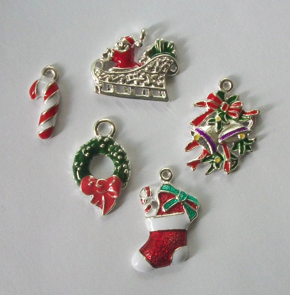 Enamel christmas charms assortment of theme