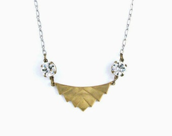 Geometric Necklace Chevron Necklace Art Deco Necklace Rhinestone Necklace Gold Pendant Silver Jewelry - Sparkle Deco