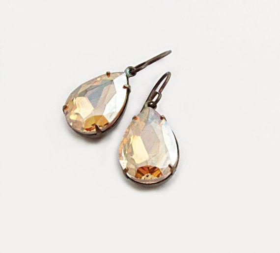 Light Colorado Topaz Rhinestone Earrings Golden Pear Rhinestone Earrings Gold Earrings Rhinestone Earrings - Vintage Sparkle