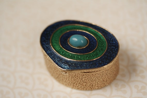 Vintage Blue and Green Retro Trinket Box, Colorful Gold Jewelry Dish, Small Bright Container, Ring Storage, Home Decor, Accessories Holder