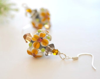 Brown Flower Glass Earrings, Lampwork Glass Earrings, Floral Earrings, Glass Bead Earrings