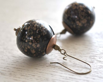 Large Black Glitter Ball Earrings - Long Dangle