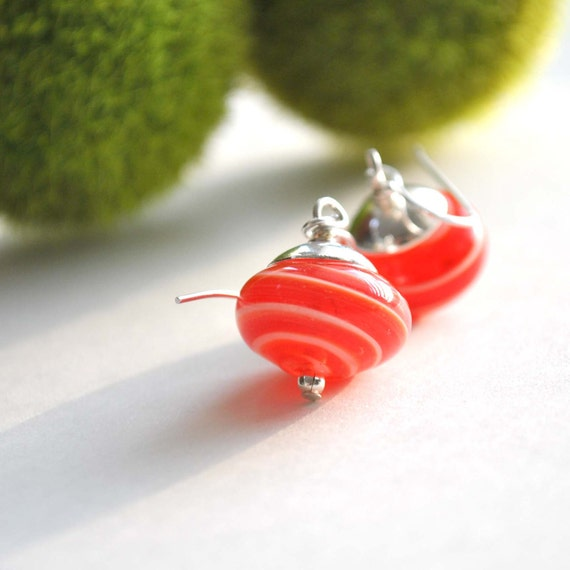 Striped Red Glass Earrings, Hollow Glass, Light Weight, Dangle Earrings