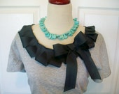 Embellished Tshirt  with Charcoal Gray Ruffle and Bow