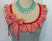 Embellished Gray Tank Top with Red and White Zig Zag Ruffle and Bow with Red Ribbon Trim