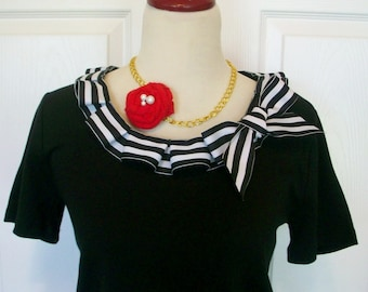 Embellished Tshirt with Fun Nautical Sailor Black and White Box Pleat Ruffle and Bow