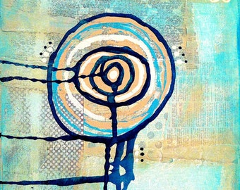 "Original Mixed Media Abstract on 8x8 Canvas - Painting Home Decor Artwork Abstract - ""Abstract Circle 2"""