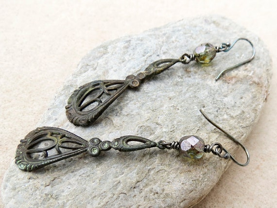 Antique Style Spoon Handle Earrings, Verdigris Aged Metal, Dark Crystals, Edwardian Old Lace Vintage Style, Handmade Jewelry