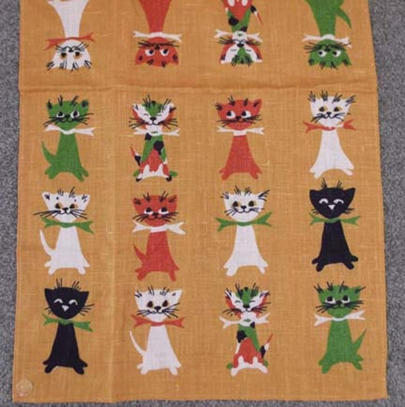 SALE 60s Vintage Never Used Multi MOD Cat Linen Kitchen Towel Labels Keefe
