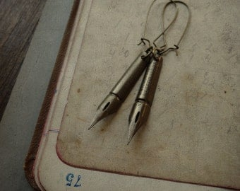 Victorian Pen Nib Earrings - Scribbles No. 028
