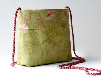 CLOSING SALE 50% OFF...green pink floral purse...country cottage shabby chic rose and leaf design...small lightweight shoulder crossbody bag