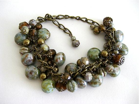 Moss Green Topaz Gold Cocoa Czech Bead Pearl Brass Bracelet