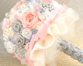 Brooch Bouquet, Wedding, Jeweled, Pink , Blush, Gray, Cream, Silver, Ivory, Pearls, Crystals, Lace, Tulle, Vintage Wedding