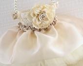 Flower Girl Basket, Wedding, Tutu, Champagne, Tan, Cream, Gold, Ivory, Lace, Pearls, Tulle, Vintage Style, Elegant, Gatsby