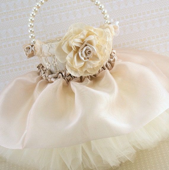 How To Make A Lace Flower Girl Basket : Flower girl basket wedding tutu champagne tan cream