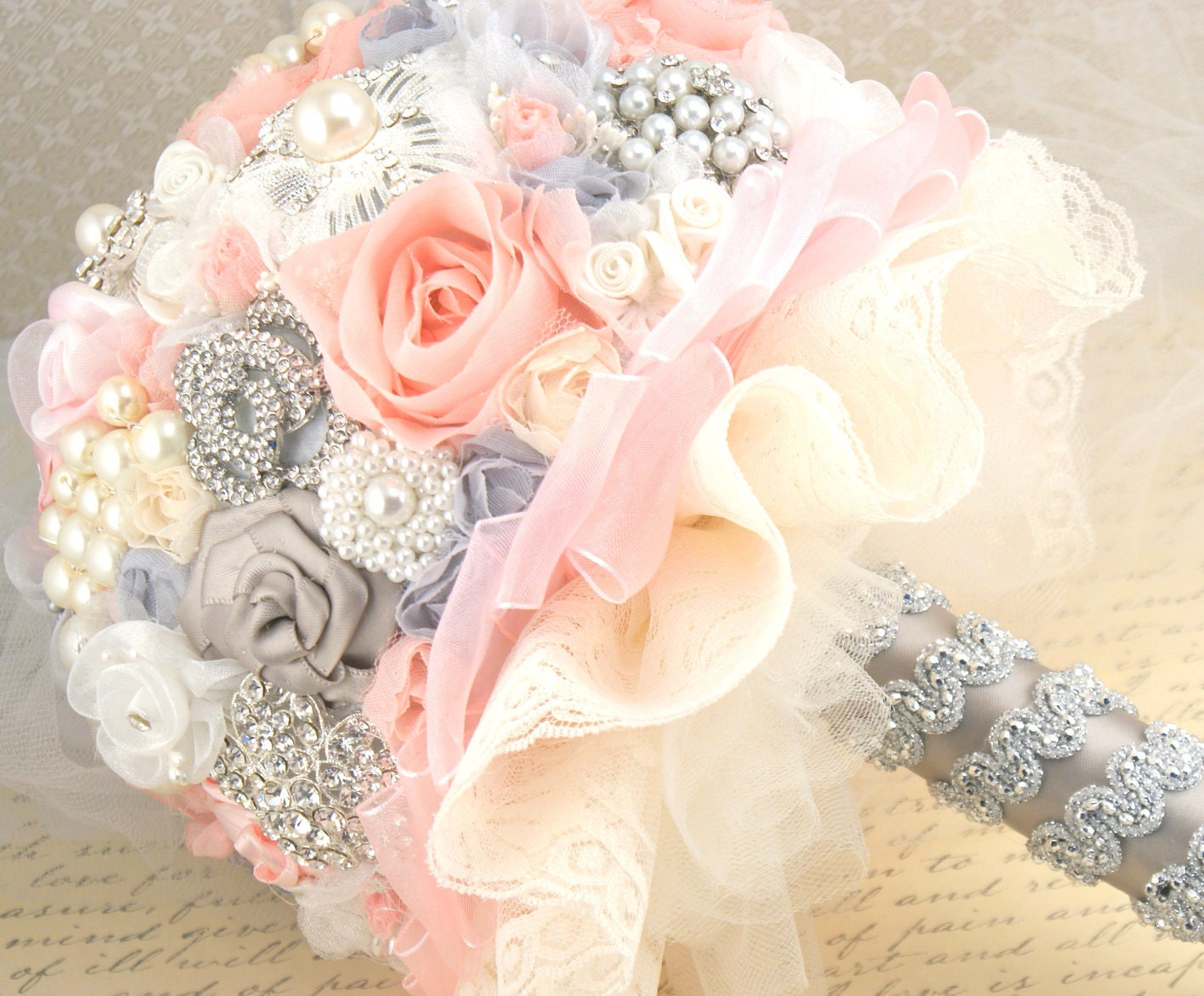 Blush Pink Hair Flower Or Brooch Bridal Wedding: Brooch Bouquet Jeweled Wedding Bouquet In Pink Gray By