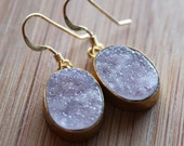 Mauve Agate Druzy Earrings - Very Sparkly - Agate Geode Slice