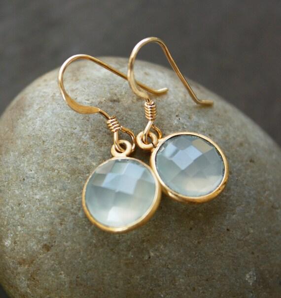 Sea Green Chalcedony Earrings - Simple Drops - The Glowing Sea