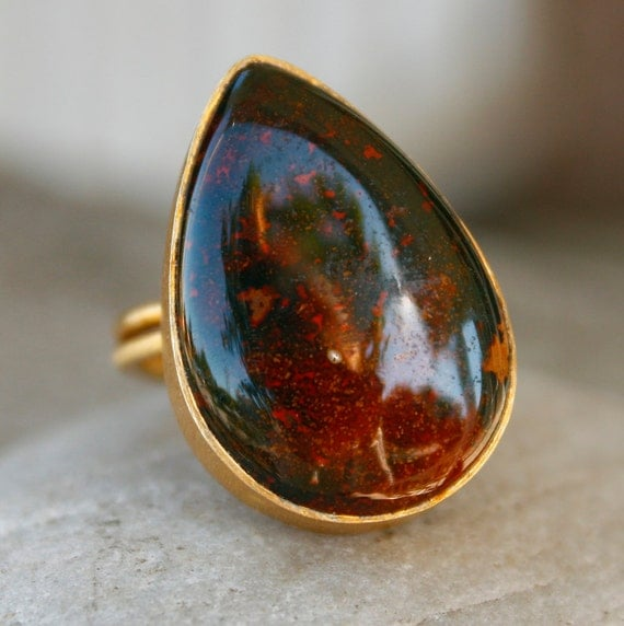 SALE Gold Black Petrified Wood Ring - Teardrop Ring - Adjustable, Last One Left