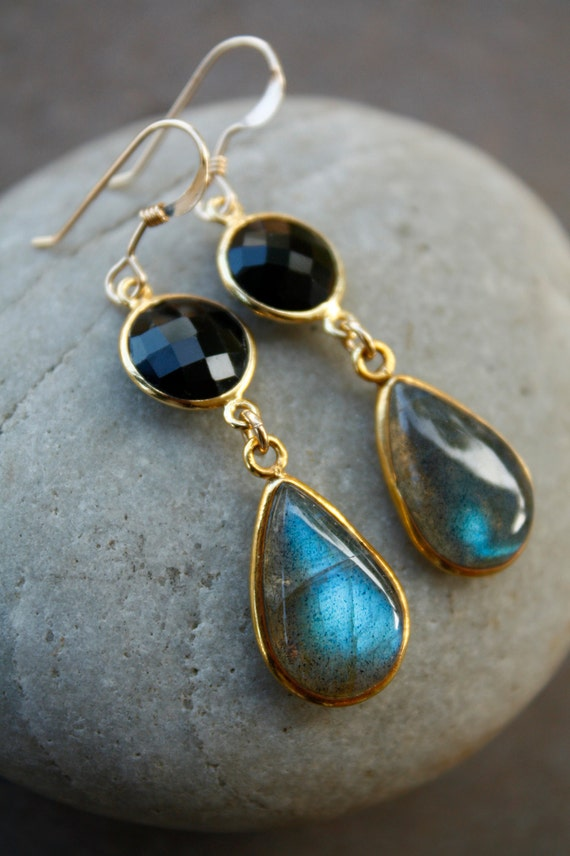 Gold Black Onyx and Blue Labradorite Earrings - 14KT Gold Fill - Black and Blue
