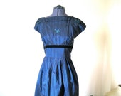 SALE 1950s dress Stunning 50s party or cocktail dress Slim waist in striped blue rayon taffeta S XS