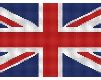 United Kingdom Flag Cross Stitch Printed Pattern