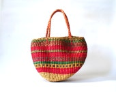 Vintage Magenta Straw Bag Woven Straw Summer Beach Tote Large
