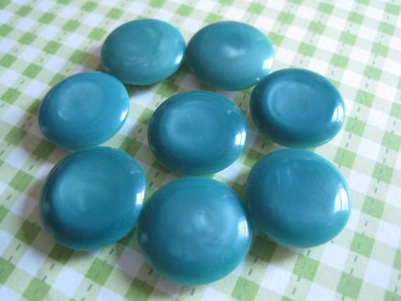 8 Vintage Dark Teal Plastic Self Shank Buttons