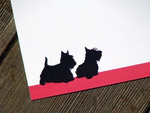 dog note cards Scottish Terriers Personalized Stationery . Two Scotties Notecards . Scotty Flat Cards . Dog Silhouette . Pets . Set of 10