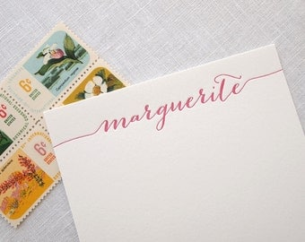 Custom Letterpress Stationery - Swash Calligraphy - Personalized Set of 25 Flat Notes