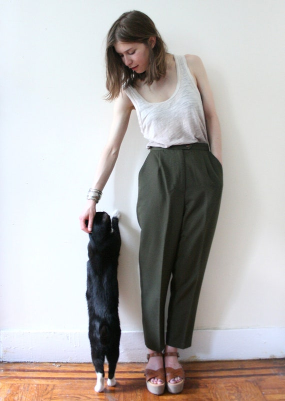 Vintage 70s Forest Green High-Waisted Pleated Pants