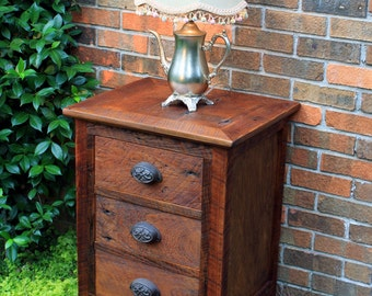Bedside Table with Drawers / End Table, Reclaimed Wood, Dark Honey Brown Finish - Handmade